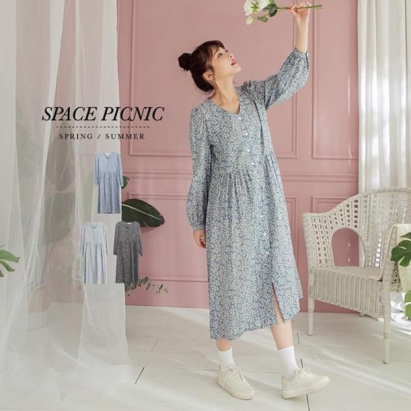長袖 洋裝 Space Picnic|單色花草排扣長袖洋裝(現貨)【C20125050】