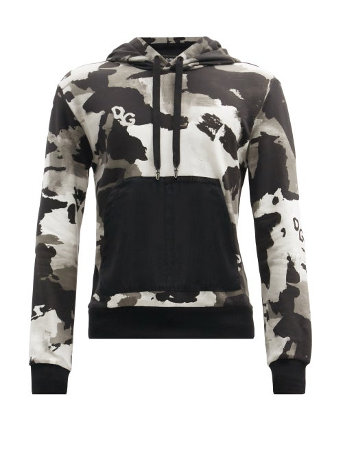 Dolce & Gabbana - Camouflage-print Cotton-blend Hooded Sweatshirt - Mens - Grey Multi