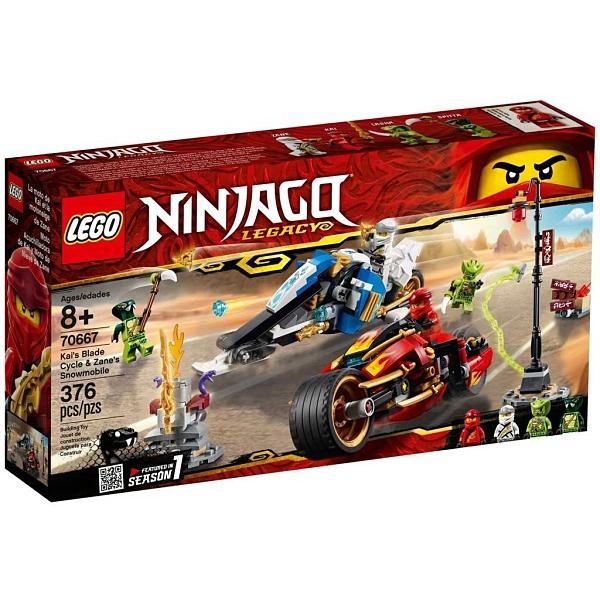 LEGO 樂高 NINJAGO 忍者系列 赤地的刀鋒轉輪車及冰忍的雪地摩托車 70667
