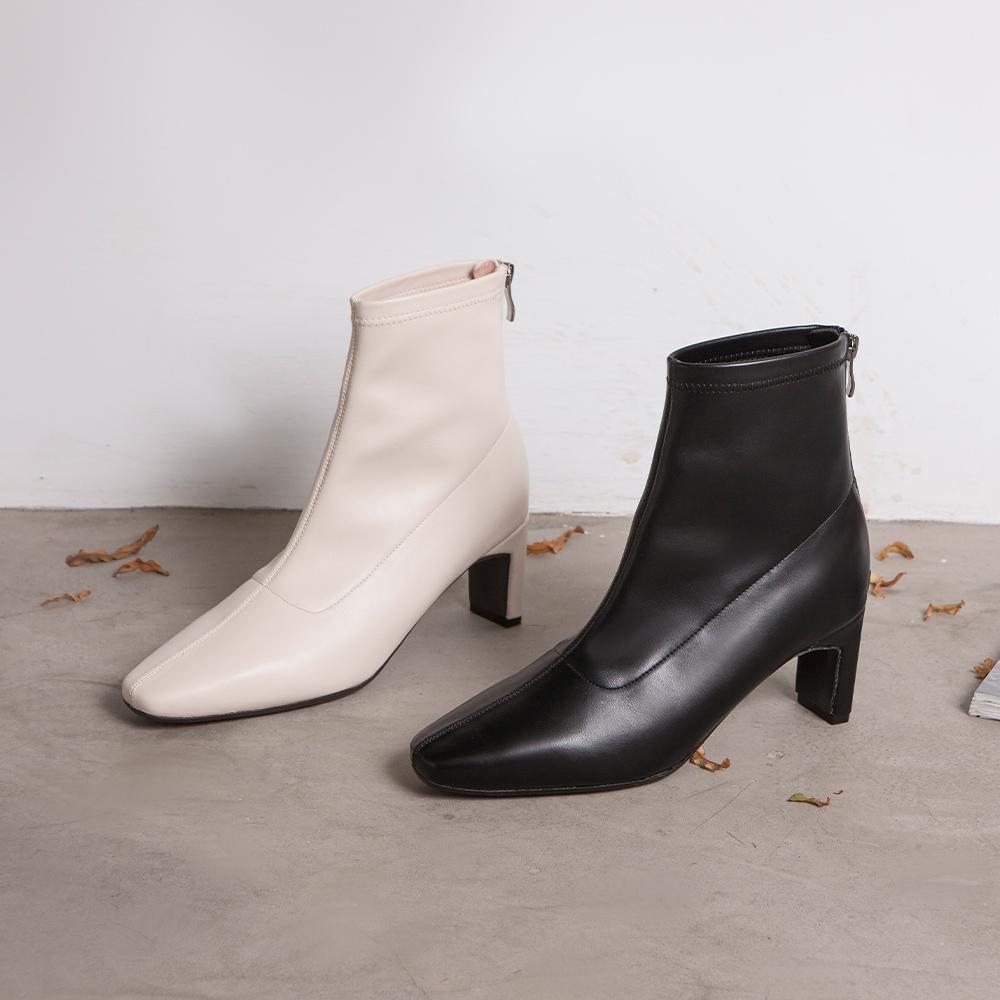 纖腿對策.彈性皮革後拉鍊綁帶扁跟靴  黑 (802350)