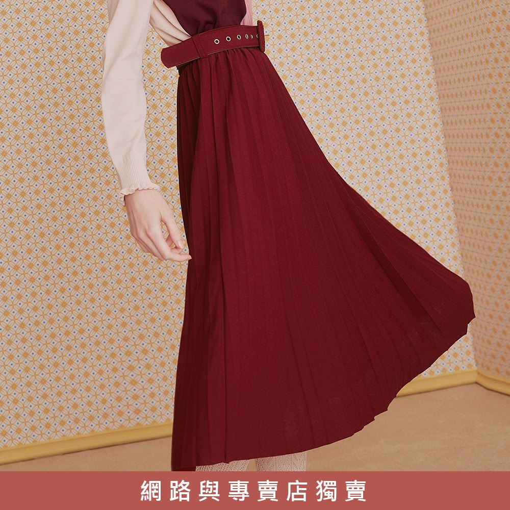 OUWEY歐薇 亮麗貼合百摺長裙(黑/綠/紅)J96201