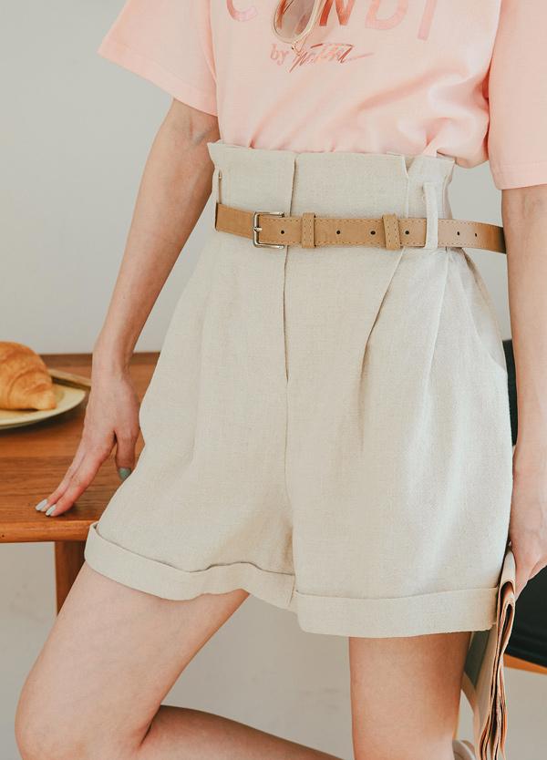 【現貨】附腰帶亞麻短褲