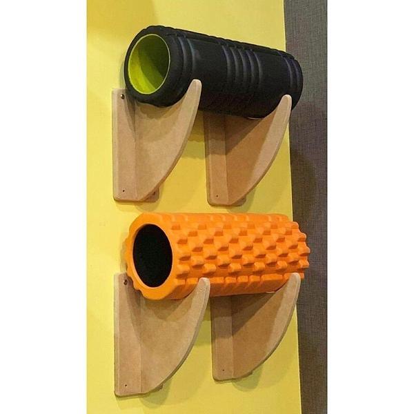 『VENUM旗艦館』按摩滾筒架 瑜珈墊架 木製 一組兩入