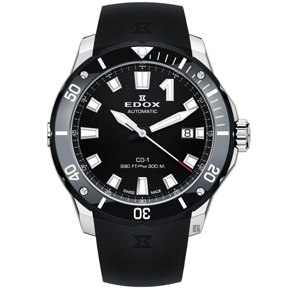 EDOX CO-1 快艇潛將 300米潛水機械錶-黑/42mm(E80119.3N.NIN)