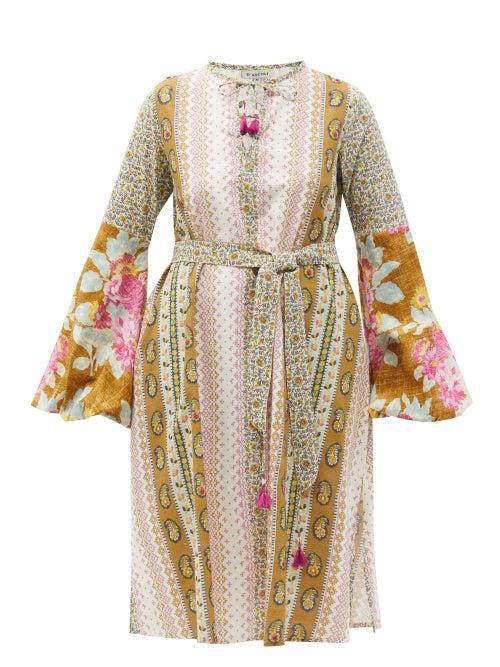 D'Ascoli - Tatiana Floral-print Cotton-khadi Midi Dress - Womens - Green Multi