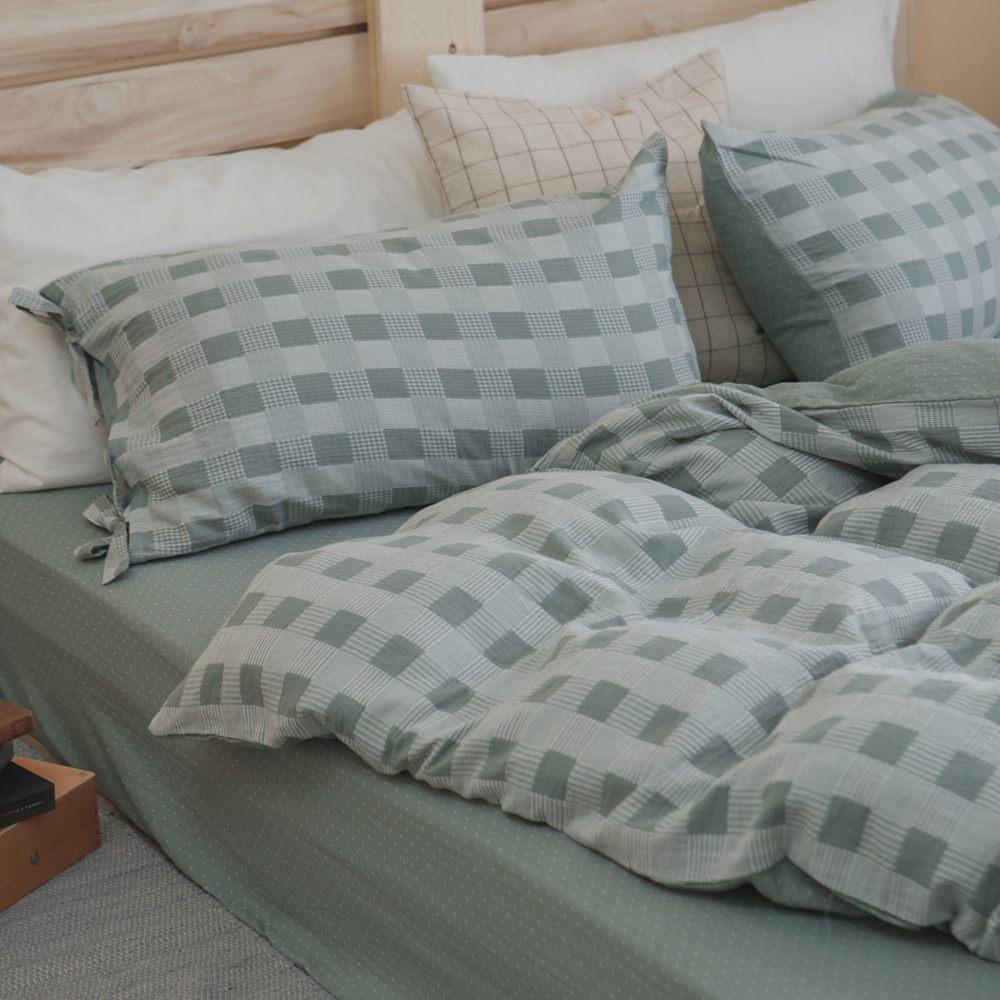 被套床包組(薄被套)-雙人 / 色織雙層紗 / 酪梨綠
