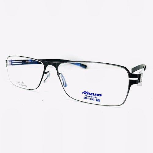 【MIZUNO】美津濃 鈦金屬 光學眼鏡鏡框 MF-1732 C04 薄鈦 無螺絲 長方形鏡框眼鏡 黑 58mm