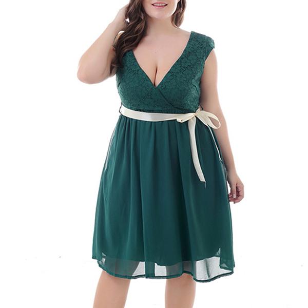 中大尺碼 洋裝 深V領蕾絲緞帶洋裝【LBF0008】MAY01 1色4碼  19LADY{現貨}