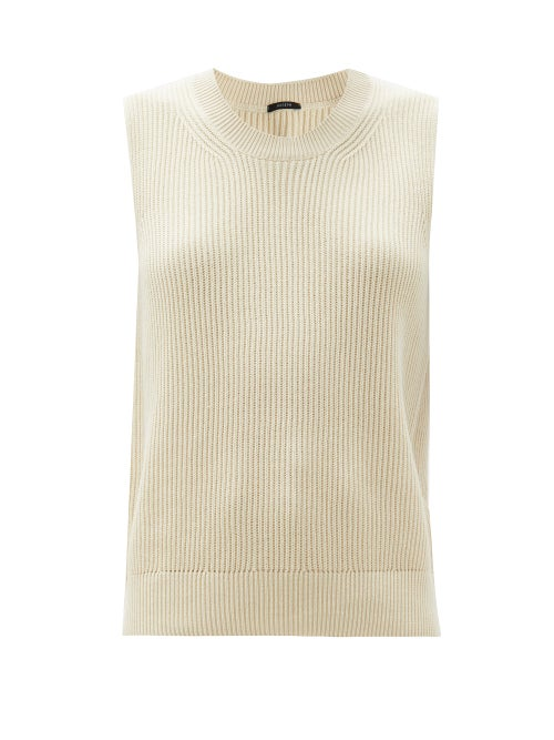 Joseph - Rib-knitted Cotton Sleeveless Sweater - Womens - Ivory