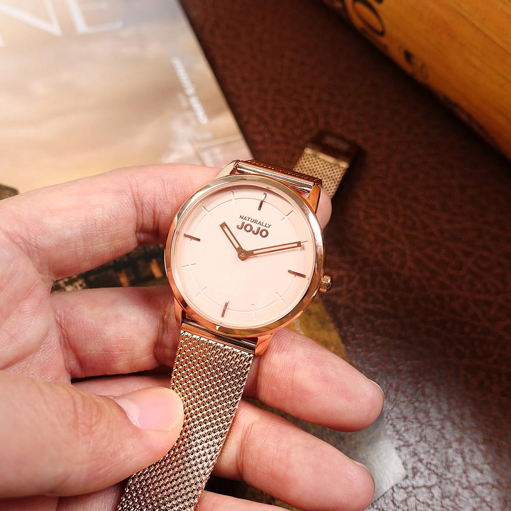 NATURALLY JOJO / JO96945-13R / 簡約時尚 藍寶石水晶玻璃 米蘭編織不鏽鋼手錶 鍍玫瑰金 32mm