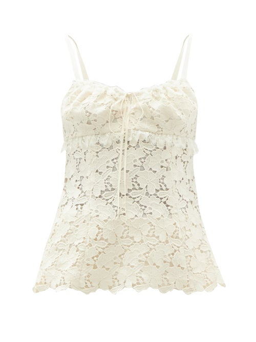 Brock Collection - Sira Cotton-blend Macramé-lace Top - Womens - Ivory