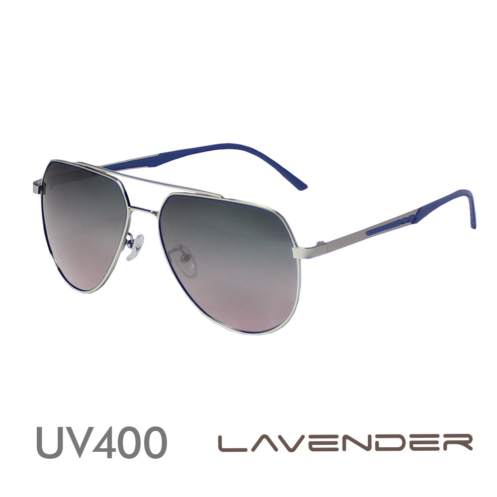 Lavender偏光太陽眼鏡 飛官雙槓漸層款-藍粉漸層-J3155 C4