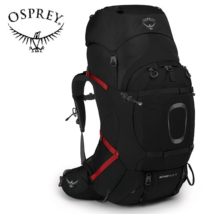 【Osprey 美國】AETHER PLUS 70 登山背包 健行背包 男款 黑色 (AetherPlus70)