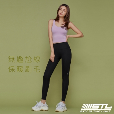 STL YOGA Volume Up legging 9 韓國瑜珈『無尷尬線/內刷毛』中高腰 運動機能訓練緊身長褲 黑 Black