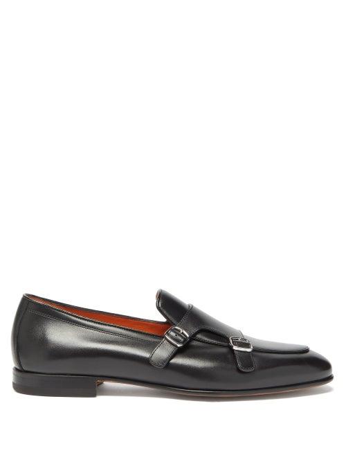 Santoni - Michigan Monk-strap Leather Loafers - Mens - Black