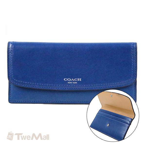 COACH全皮素面薄型長夾/皮夾(藍)