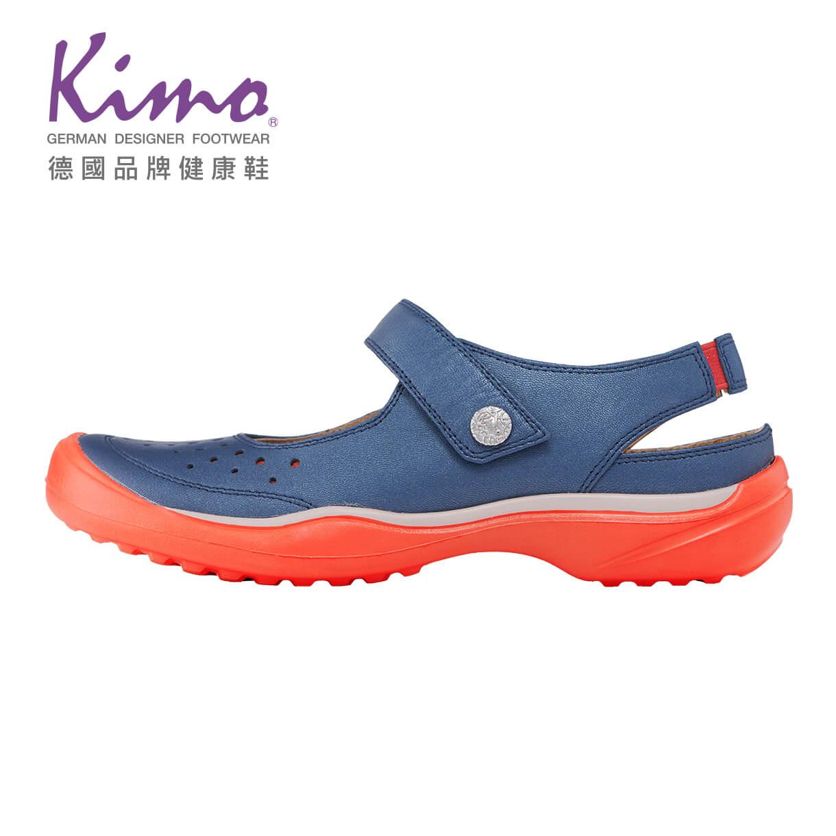 Kimo魔鬼沾繫帶簍空平底休閒娃娃鞋 女鞋(藍KBJSF073286)