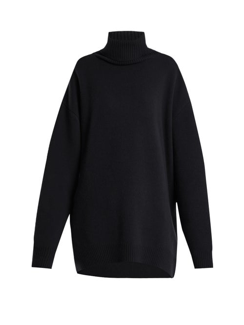 Raey - Displaced-sleeve Roll-neck Wool Sweater - Womens - Navy