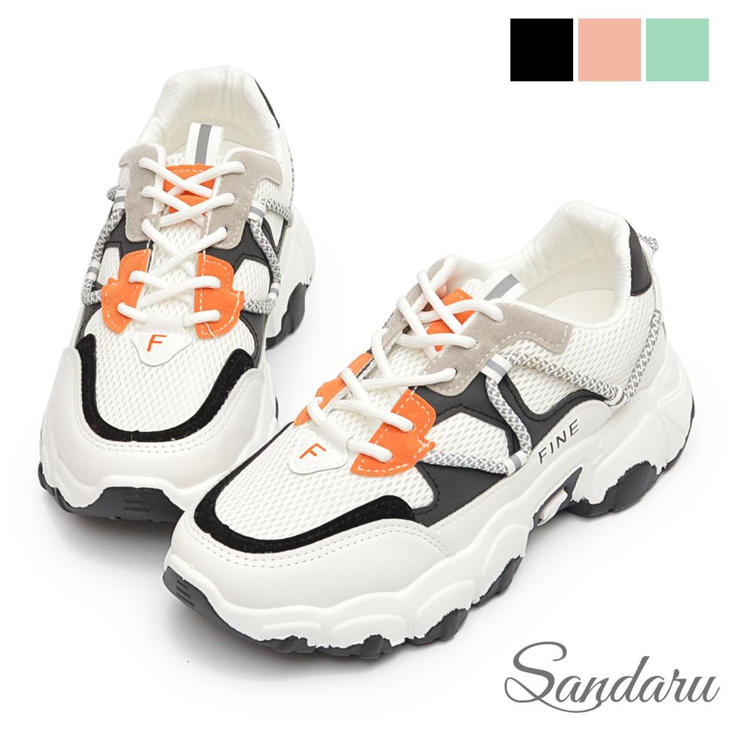 老爹鞋 FINE反光拼色心機增高厚底鞋【黑色】三天出貨