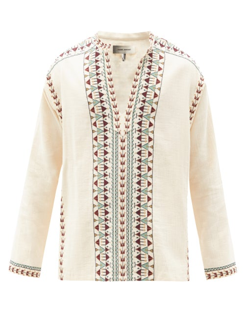 Isabel Marant - Ikariah Notch-neck Embroidered Cotton-calico Shirt - Mens - Cream