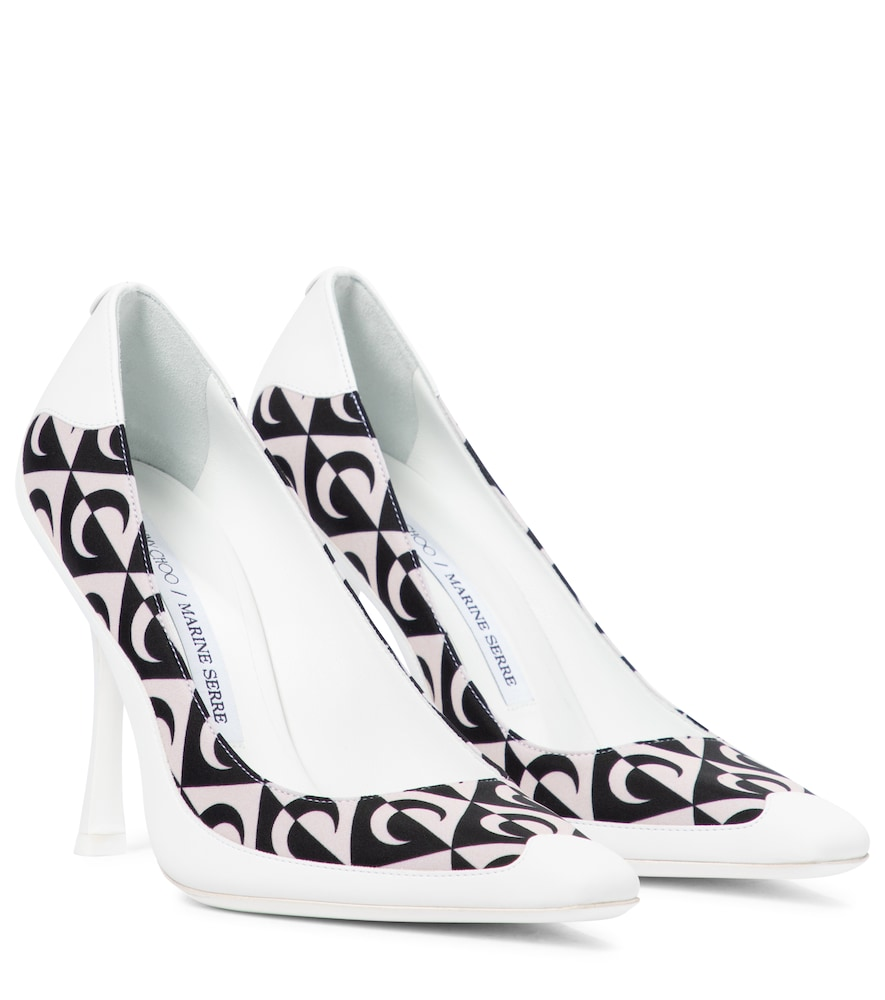 Exclusive to Mytheresa - x Marine Serre printed leather-trimmed pumps