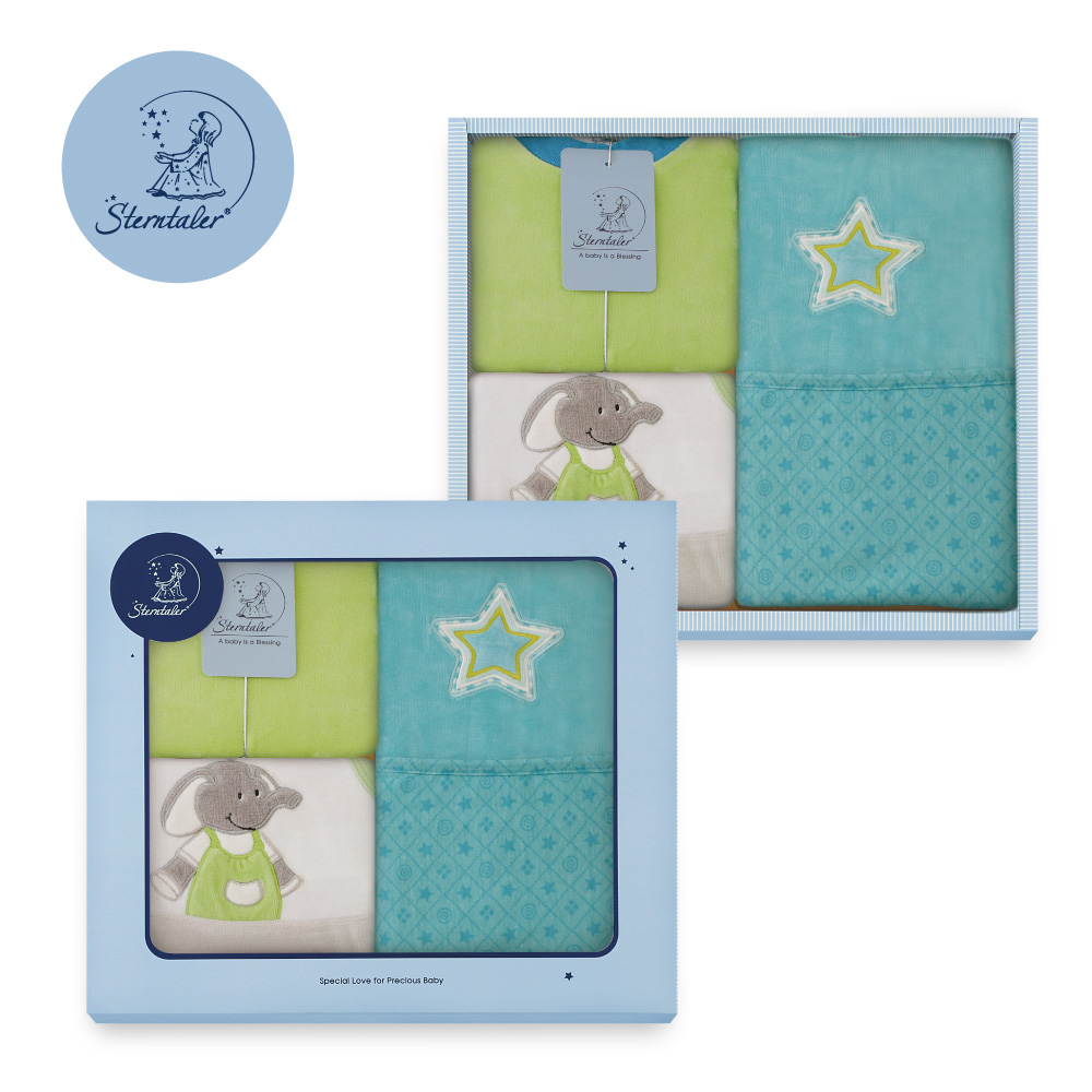 【彌月禮推薦】STERNTALER 以利亞灰兔裝附閃星雙面毯禮盒/彌月禮盒 C-5601405-B0-GIFT