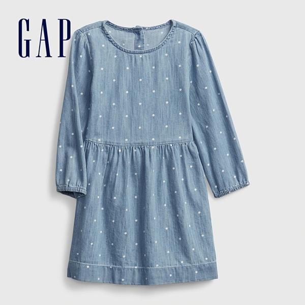 Gap女幼童 甜美波點印花圓領洋裝 636057-水洗藍