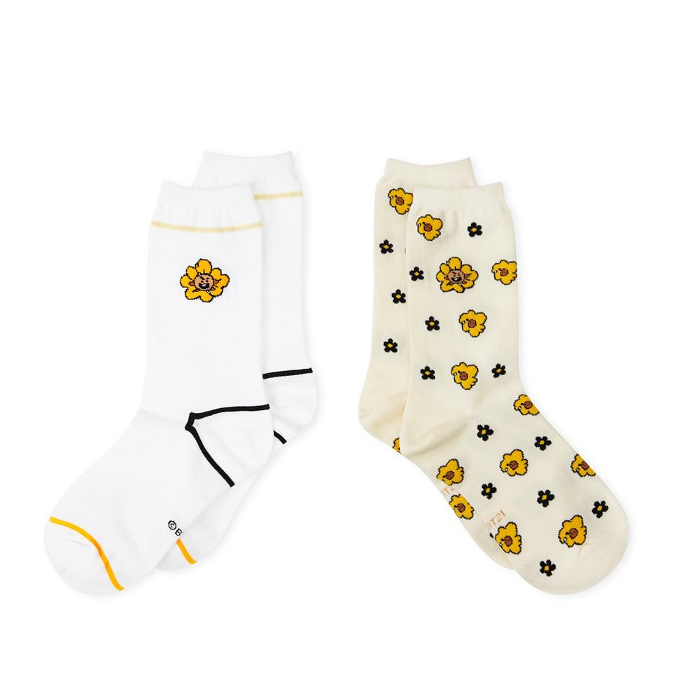【3/5-3/26滿額最高折300】BT21 SHOOKY 造型襪(2入組/FLOWER系列)