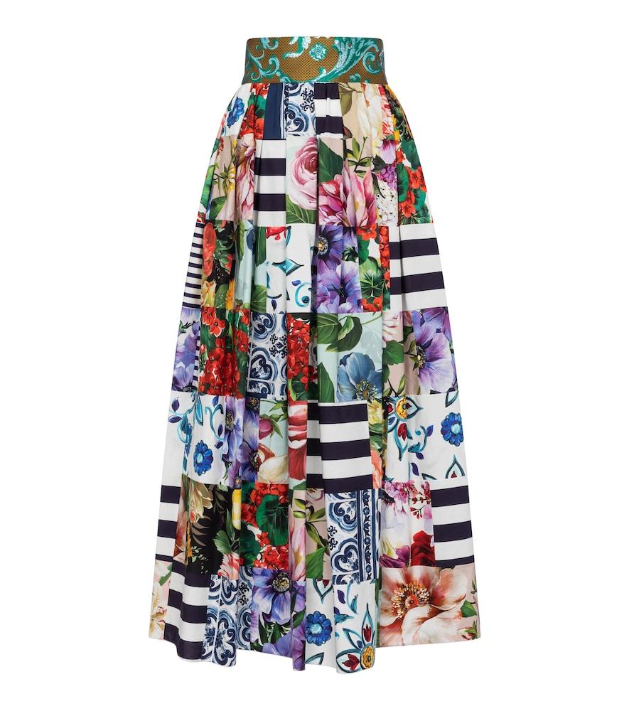 Printed cotton-blend maxi skirt