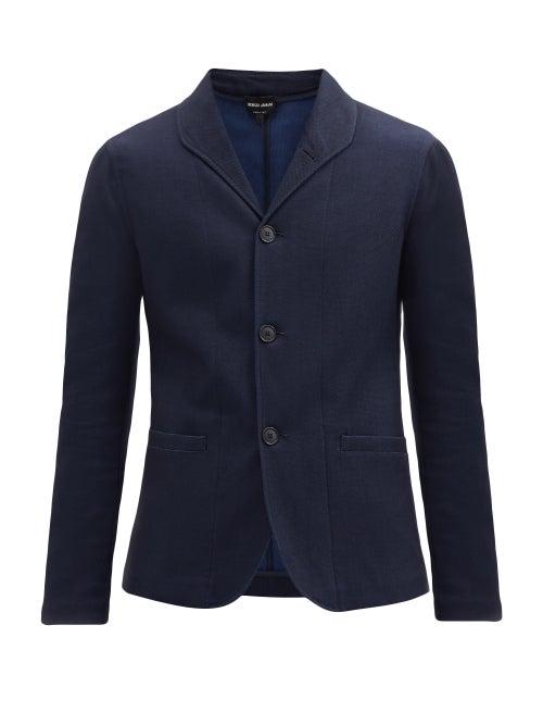 Giorgio Armani - Pinhead-jacquard Cotton-blend Twill Blazer - Mens - Navy