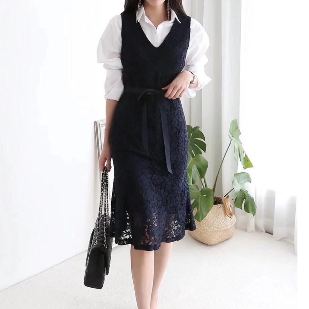 蕾絲魚尾下擺腰帶優雅質感輕奢時尚連衣裙