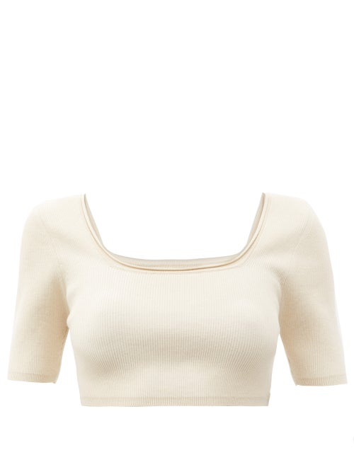 Jacquemus - Arancia Ribbed-knit Cropped Top - Womens - Beige
