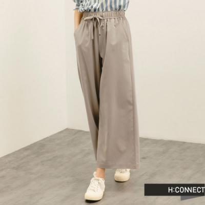 H:CONNECT 韓國品牌 女裝 -質感垂墜綁帶寬褲-淺花灰