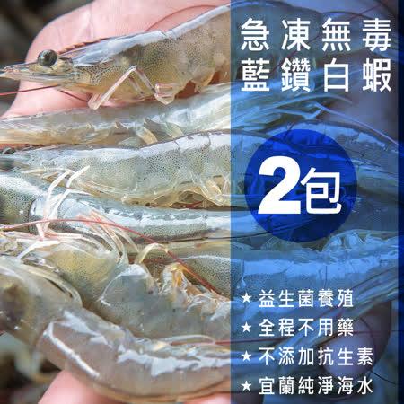 【嚴選砥家】蝦界LV★急凍無毒藍鑽白蝦 連殼都能吃  600g/包  ★2包入★