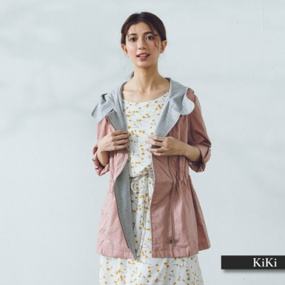【KiKi】抽繩連帽風衣-女長袖外套(三色/版型適中)