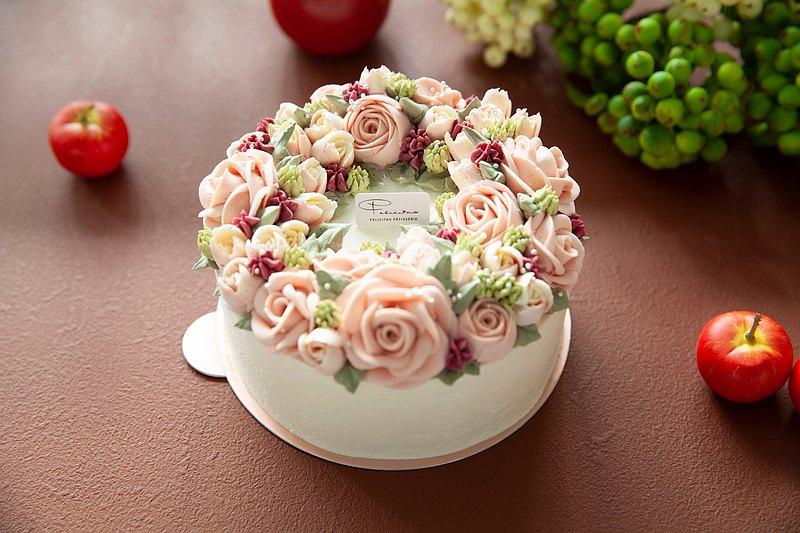 6吋 草莓花圈/玫瑰花蛋糕/生日蛋糕/花蛋糕/快速1-2天發貨