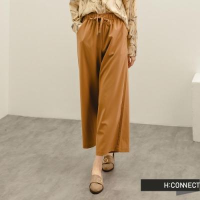 H:CONNECT 韓國品牌 女裝 -質感垂墜綁帶寬褲-黃棕色