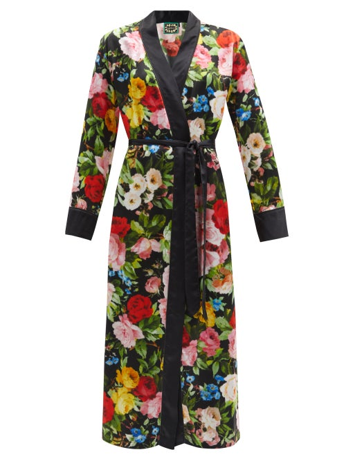 Richard Quinn - Floral-print Silk-satin Robe - Womens - Multi