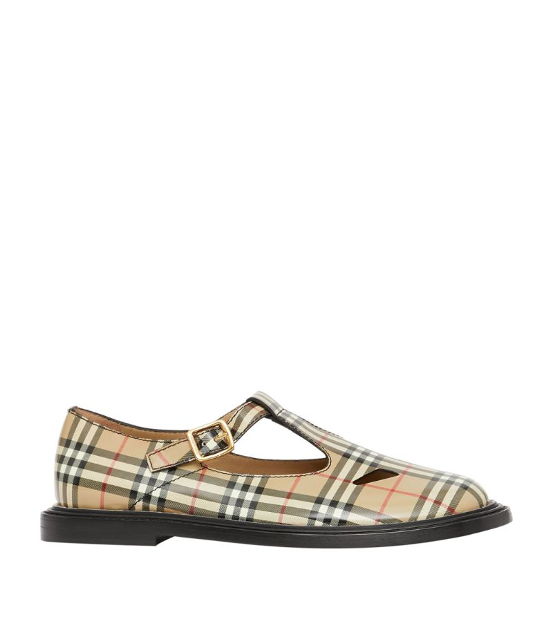Burberry Leather Vintage Check T-Bar Shoes