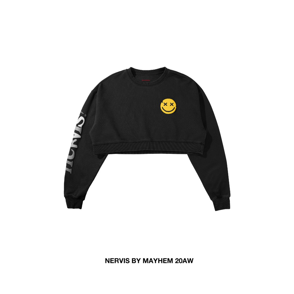 NERVIS BLACK PUFF-PRINT CROPPED SWEATER 短版 衛衣 大學T