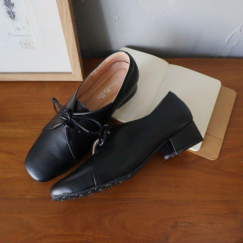 【老學究】方頭粗跟鞋-黑
