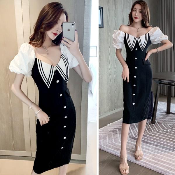 M-L網紅最愛一字領公主袖夜店露背顯瘦包臀短袖洋裝連身裙-凱西娃娃