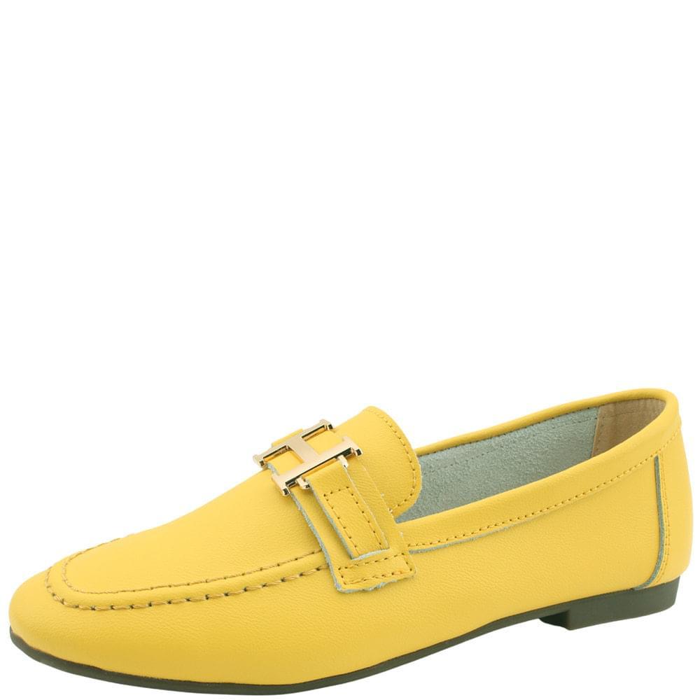 韓國空運 - Cowhide Modern Strap Loafers Yellow 樂福鞋