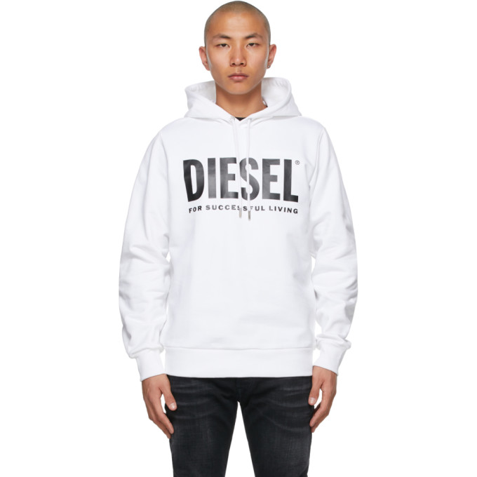 Diesel 白色 S-GIR-Division-Logo 连帽衫
