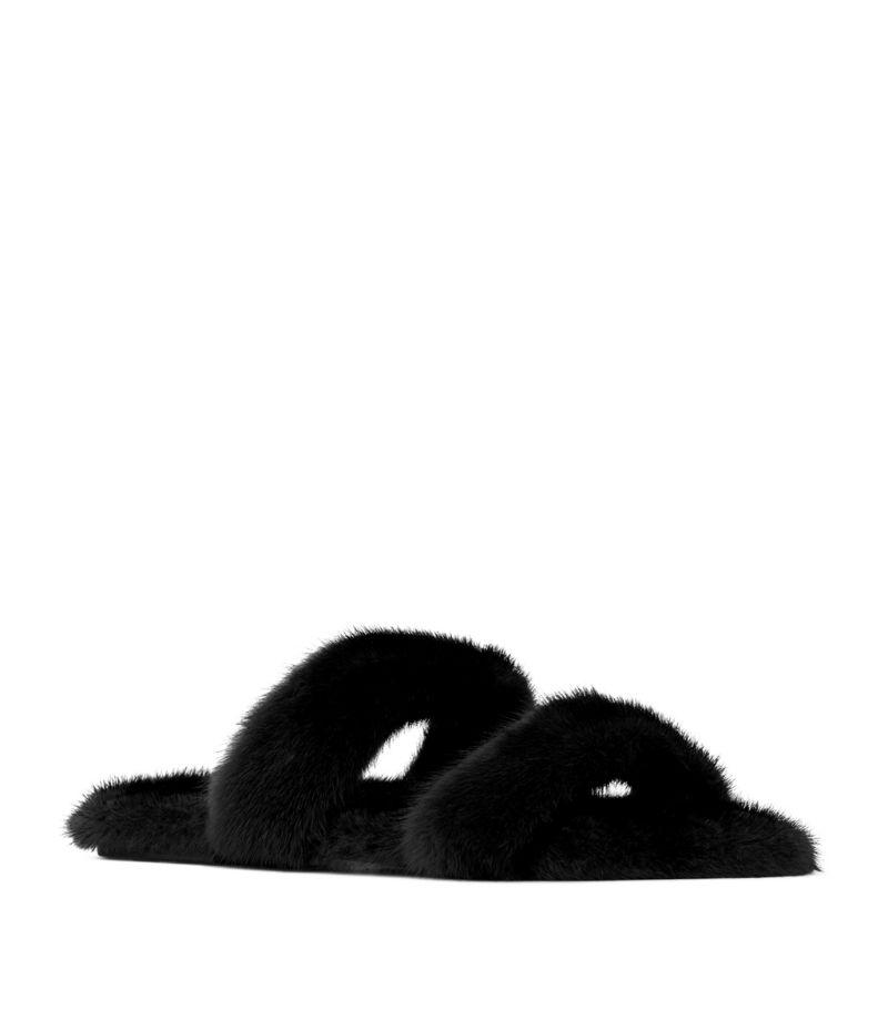 Saint Laurent Mink Fur Sandals