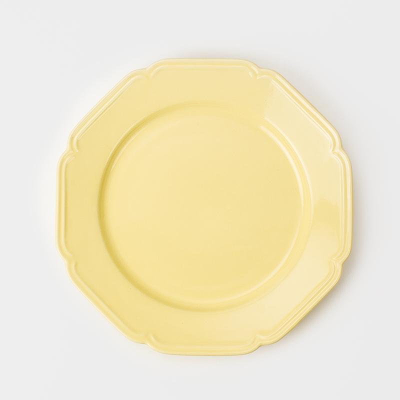 歐式 典雅花邊 21cm 新骨瓷彩釉八角圓盤|奶油黃|單品