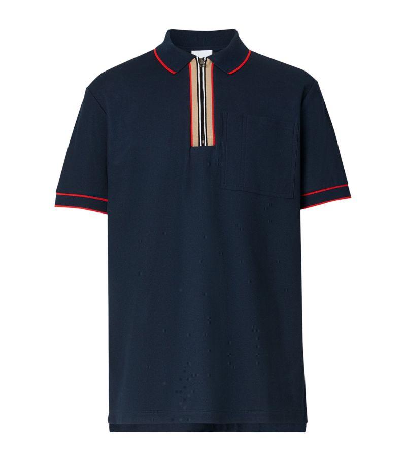 Burberry Cotton Icon Stripe Zip Polo Shirt
