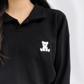 韓國空運 - Puppy embroidered open collar long-sleeved tee 長袖上衣