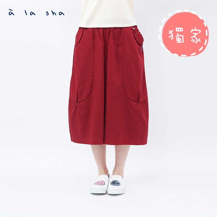 a la sha 烏龍阿財大圓圈緹織褲裙
