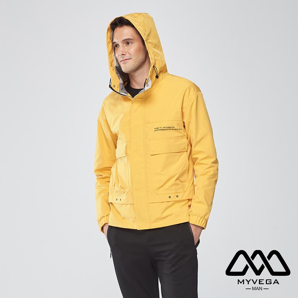 【麥雪爾】MAN迷彩風連帽風衣外套-黃